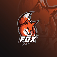 Fox logo mascot sport illustration. modern icons for logos and emblem.