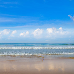 Deserted sandy beach of the Indian Ocean. In the blue sky cumulus clouds.