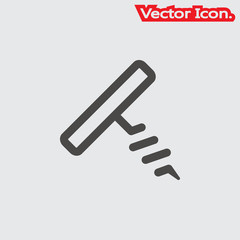 Corkscrew icon isolated sign symbol and flat style for app, web and digital design. Vector illustration.
