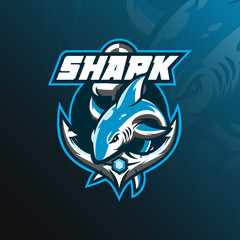 shark mascot logo design vector with modern illustration concept style for badge, emblem and tshirt printing. jumping shark illustration with anchor.