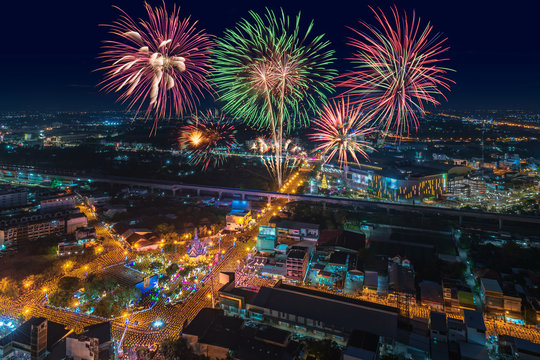Fireworks at New Year At Khon Kaen, Thailand, during Buang Suang Ceremony is the one of the most important Khon Kaen Traditional Rituals that take at the surrounding streets.