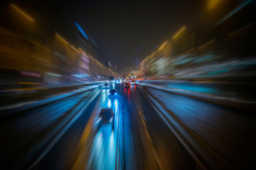 Fotomurales - colorful night traffic in vienna