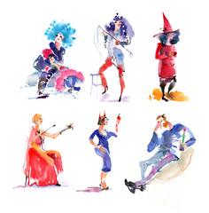 Halloween people watercolor