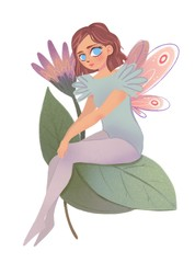 Cute fairy girl with pink wings sitting on flower leaves. Hand drawn colored illustration
