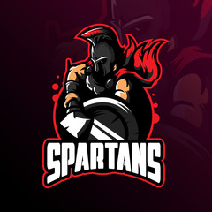 spartan mascot logo design vector with modern illustration concept style for badge, emblem and tshirt printing. spartan illustration with shield and spear.