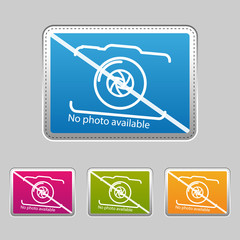 No Photo Available - Silver Metallic Sticker - Colorful Vector Illustration - Isolated On Gray Background