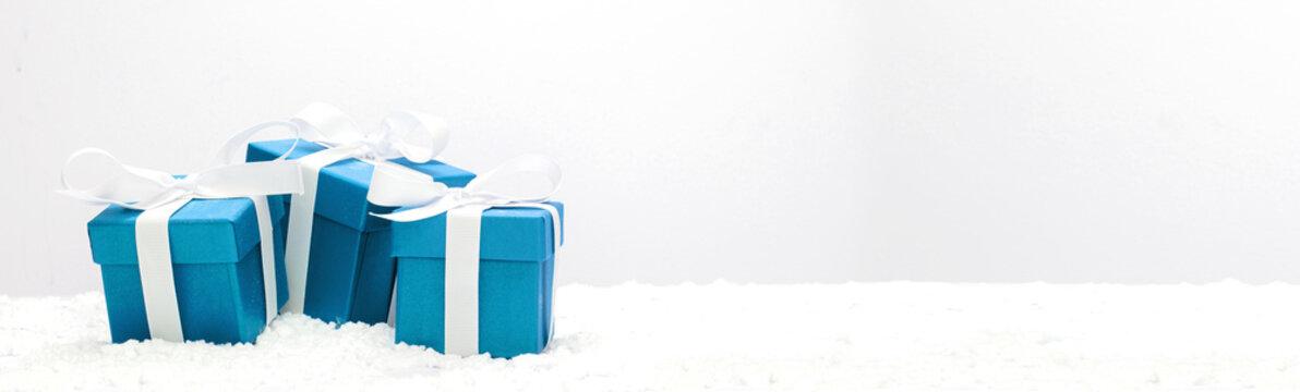 Blue christmas holidays decoration on a white background