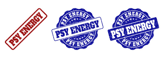 PSY ENERGY grunge stamp seals in red and blue colors. Vector PSY ENERGY labels with grunge texture. Graphic elements are rounded rectangles, rosettes, circles and text tags.