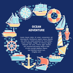 Ocean adventure round concept with ship icons in line style