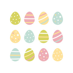 Cute pastel colors set, collection of easter eggs with dots, stars and stripe ornaments.