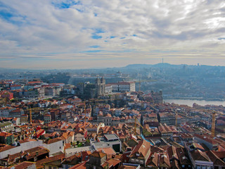 Aerial panoramic view of Porto with red tiled rooftops Porto Cathedral (Se do Porto) in Portugal, Travel destination in Europe