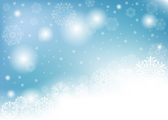blue winter background with white snow. vector illustration