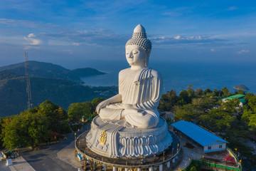 areial photography Phuket big Buddha in blue sky. .Phuket Big Buddha is one of the Phuket island most important and revered landmarks on Phuket island..
