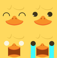 Cute yellow duck emotion face set