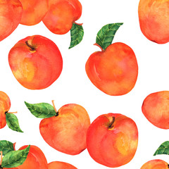 A watercolor seamless pattern with vibrant red apples on a white background, a vegan repeat print