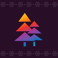 Christmas trees. Modern colors. Line art vector icon in bright novelty gradients for apps and websites. Winter Greeting Card