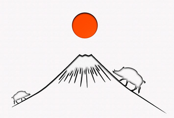 抽象的なイノシシと富士山のシルエット