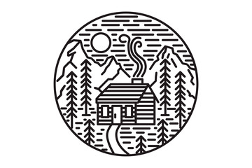 Wooden cabin in the woods, hills and mountains. Linear illustration