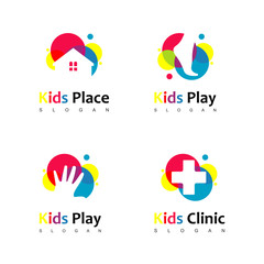 Colorful Kid Logo Set