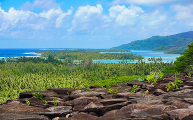 Tropical landscape in French Polynesia, Huahine island and lagoon, Leeward islands, south Pacific ocean