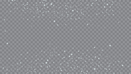 Glitter snowflakes background. Macro snowflakes flying border illustration. Holiday Christmas card design. Transparent base.