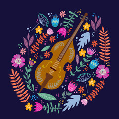Isolated cello and Bright leaves and flowers on blue background. Hand drawing folk flat doodles vector