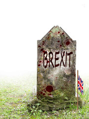 Brexit dead, UK politics. Ancient gravestone in fog, with blood and bedraggled flag.