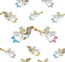 Little angels with musical instruments seamless pattern. Vector illustration of christmas angel seamless pattern. Hand drawn angels with wings.