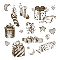 Set of christmas toys for children. Socks for candy. Gifts with ribbons and heart. Hand drawn moon and stars, snowflakes. Vintage vector illustration