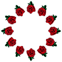 Rose icon. Vector illustration of a set red roses. Hand drawn red roses lined around for a greeting card. Roses lined circle.