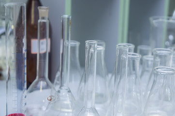group object of laboratory limpid glassware, horizontal photo