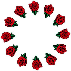Rose icon. Vector of a set red roses. Hand drawn red roses lined around for a greeting card. Roses lined circle.