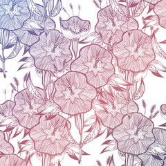 Seamless pattern with doodly naive linear flowers.