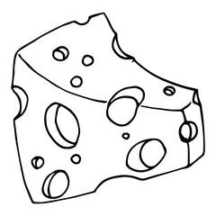 Piece of cheese with holes. Vector illustration of cheese with big holes. Hand drawn cartoon piece of cheese.