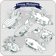 Fantasy illustration of Zeppelin for map building in hand draw vector format black and white, monochrome