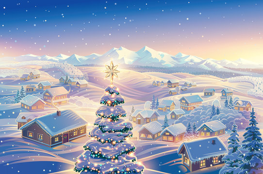 Festive winter landscape with a village in the background and festive, dressed-up Christmas tree in the foreground. It illustration can be used as a Christmas holiday card.