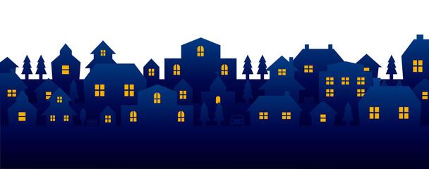 city lights landscape silhouette illustration (blue)