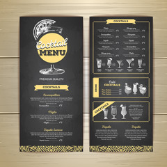 Chalk drawing cocktail menu design. Corporate identity