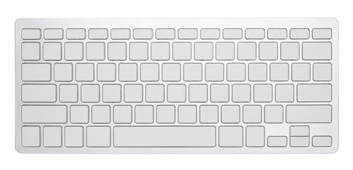 Blank silver computer keyboard, with empty 78 keys for your idea, isolated on white background. Wall mural