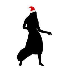 vector, isolated, silhouette of a girl dancing, new year