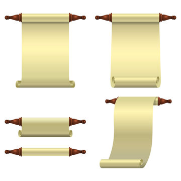 A set of 3 empty scrolls unfolded vertically, one rolled up scroll and one half open scroll.