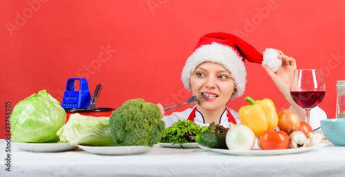 Festive menu concept. Christmas dinner idea. Healthy christmas holiday recipes. Woman chef or