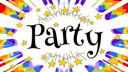 rainbow party invitation starburst panel with text