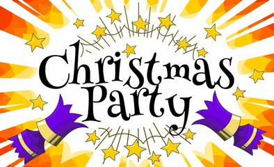 christmas cracker party invitation announcement purple over orange manga starburst with text
