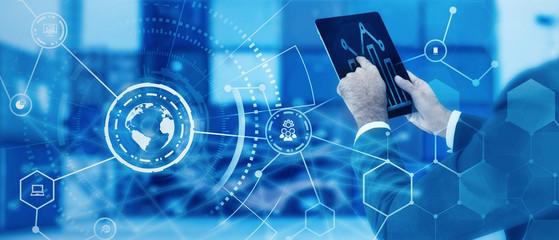 Businessman hand working with modern digital