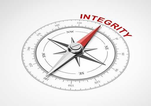 Compass on White Background, Integrity Concept