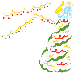 Christmas tree, angel and shining garlands, colorful pattern