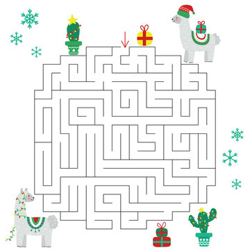 Christmas llama maze game for kids. Educational labyrinth with alpaca, cactus, snowflakes and gifts. Vector illustration.