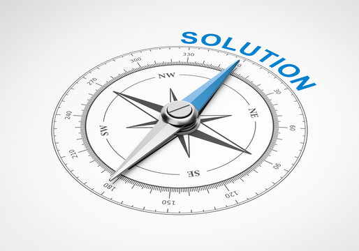 Compass on White Background, Solution Concept