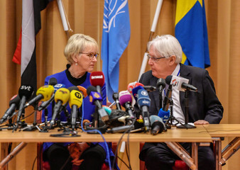 Swedish Foreign Minister Margot Wallstrom and U.N. envoy to Yemen Martin Griffiths attend the opening press conference on U.N.-sponsored peace talks for Yemen at Johannesberg castle, in Rimbo